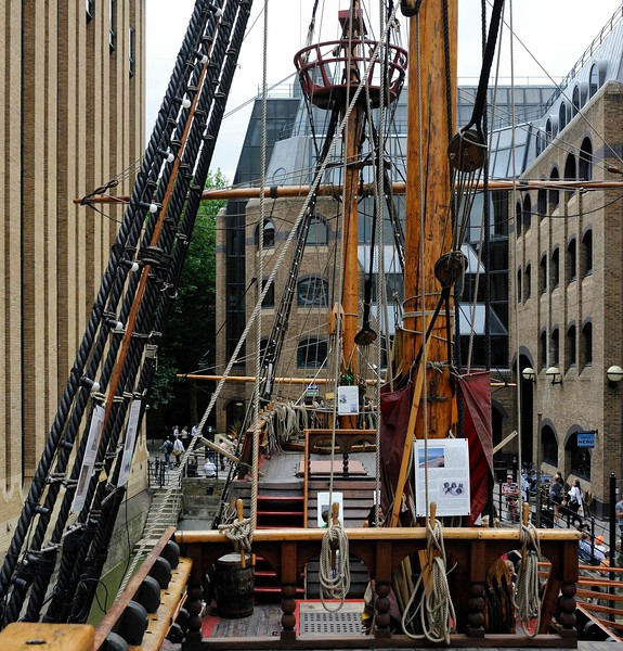 Command deck, Golden Hinde II, Southwark, London, 3 September 2013 3.  Looking forward to the main and fore masts and the foredeck.
