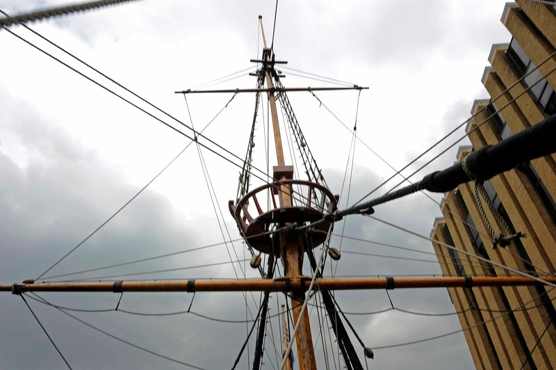 Main mast, Golden Hinde II, Southwark, London, 3 September 2013.  Looking up to the fighting top and the cross trees lookout position (above).