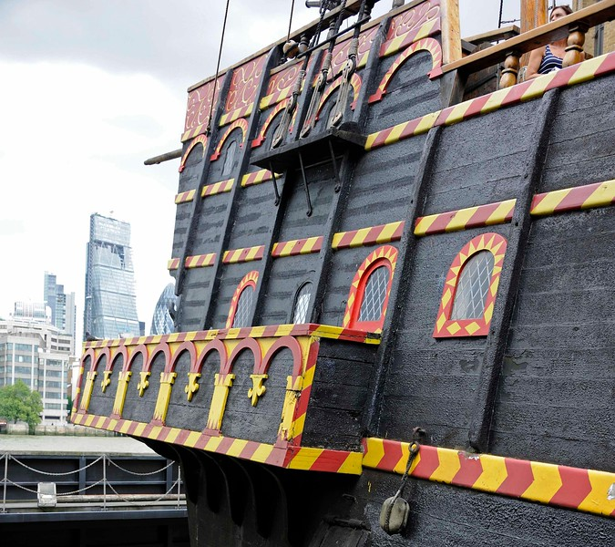 Stern, Golden Hinde II, Southwark, London, 3 September 2013 1. The three windows adjacent to the gallery belong to the great cabin.  Above them are the two windows of Drake's cabin.