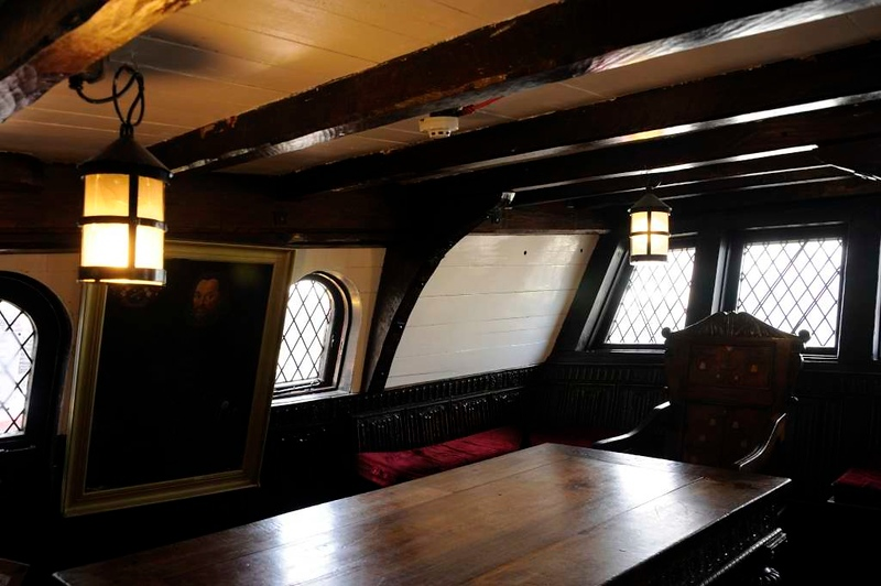 Great cabin, Golden Hinde II, Southwark, London, 3 September 2013.  Looking astern.  This was the officers' wardroom.  Drake's cabin is directly above.