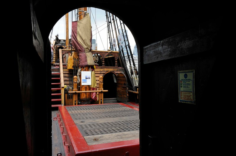 Main deck, Golden Hinde II, Southwark, London, 3 September 2013 2.  Looking aft from the fo'c'sle to the door leading to the armoury and great cabin, with the command deck above.