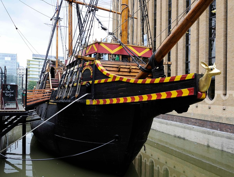 Golden Hinde II, Southwark, London, 3 September 2013.  Showing the beakhead with the fo'c'sle and its falcon gun behind the bowsprit and below the foredeck.