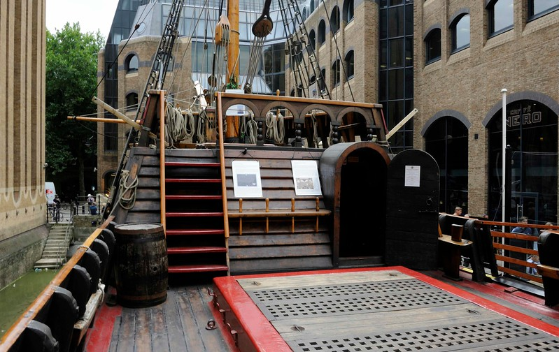 Main deck, Golden Hinde II, Southwark, London, 3 September 2013 1.  Looking forward to the door leading into the fo'c'sle with the foredeck above.