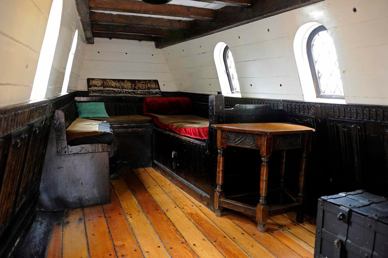 Drake's cabin, Golden Hinde II, Southwark, London, 3 September 2013 1.  The commander's quarters, with the only bed on the ship.  It is above the great cabin.