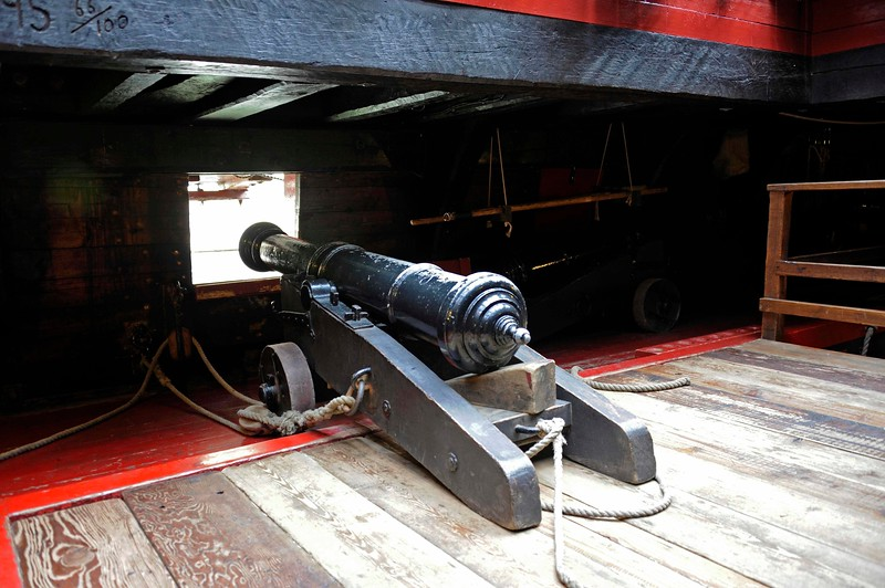 Gun deck, Golden Hinde II, Southwark, London, 3 September 2013 2.  One of the ship's 14 minions, which fired a four-pound shot and was accurate to 300 yards.