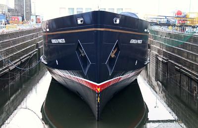 Hebridean Princess at Garvel (almost) Dry Dock.  The former CalMac Columba. 17th December 2012