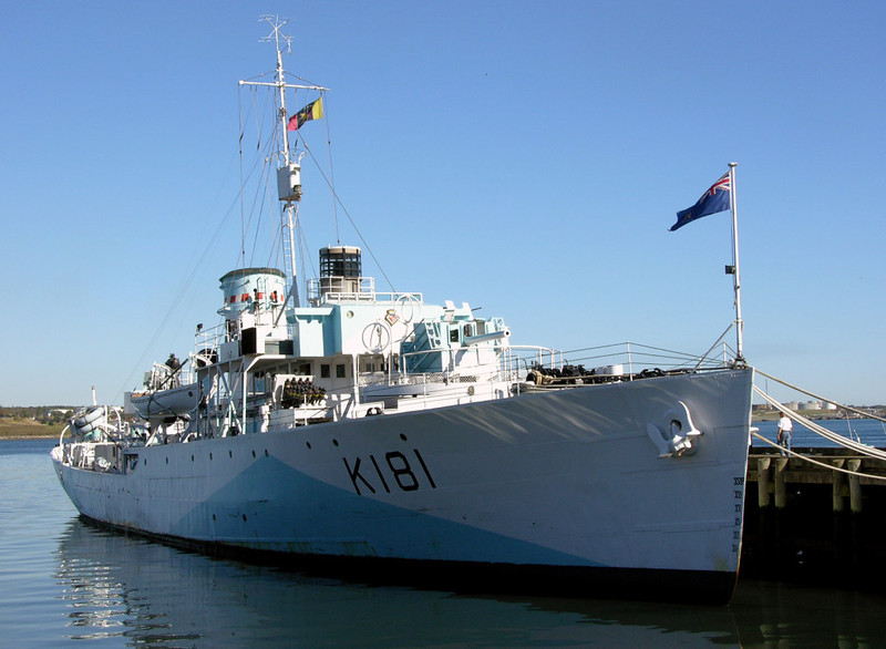 HMCS Sackville, Halifax, Nova Scotia, 3 October 2005 1.  Sackville is the only surviving Flower class corvette of 269 built to escort convoys across the North Atlantic during the Second World War.  She was built in Saint John, New Brunswick, and commissioned into the Royal Canadian Navy in December 1941.  She was credited with probably sinking one U-boat, and probably damaging another.  After the war she was used as a survey and research ship before entering preservation in 1983.  She has been restored to her upgraded 1944 condition, and is now the Canadian naval memorial.
