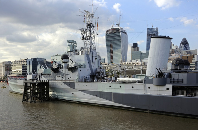 HMS Belfast, London, 3 September 2013.  The extensive space amidships originally carried two Supermarine Walrus reconnaissance seaplanes and a catapult.  They were soon made redundant by radar.