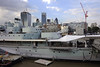 HMS Belfast, London, 3 September 2013.  X and Y 6-inch gun turrets, with the aft director control tower at left.