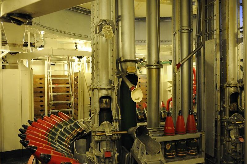 HMS Belfast, London, 3 September 2013.  B shell room