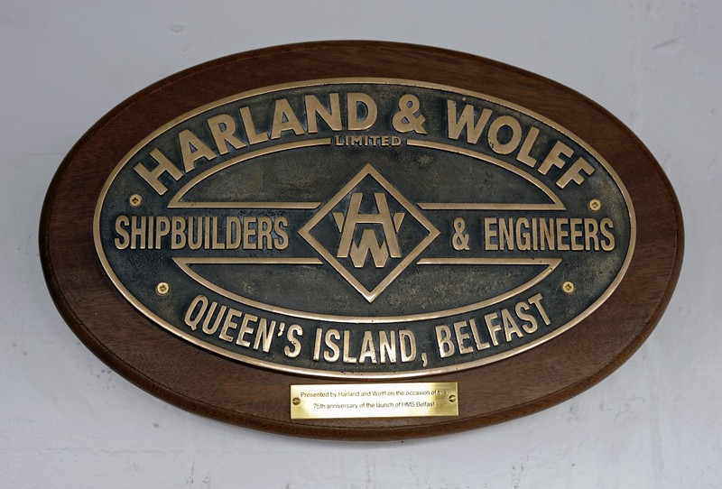 HMS Belfast, London, 3 September 2013: Builder's plate.