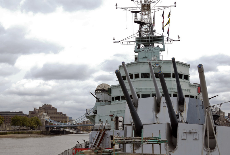 HMS Belfast, London, 19 September 2007.  Here are two views of her forward 6-inch guns, in A and B turrets.