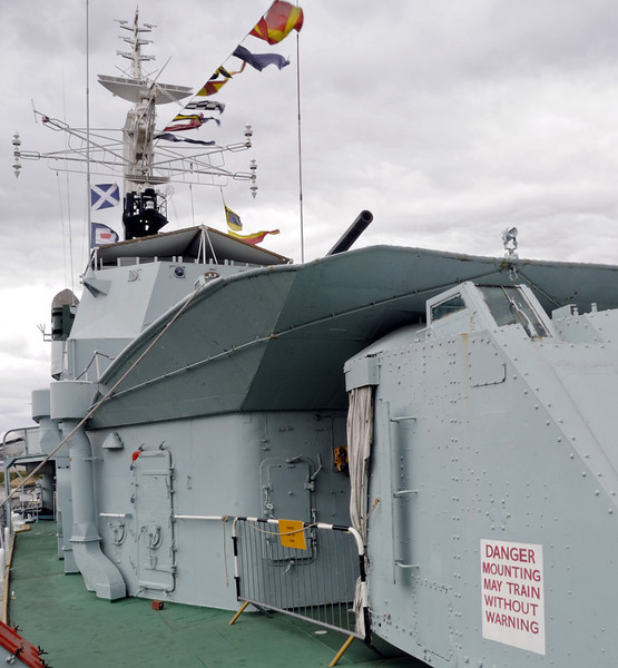 HMS Cavalier, Chatham dockyard, Sat 9 June 2012 4.  Looking aft past the two forward 4.5in guns to the bridge.