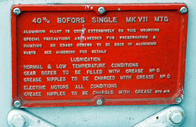 HMS Cavalier, Chatham dockyard, Sat 9 June 2012 8.  Maintenance instructions for 40mm Bofors Mk VII.