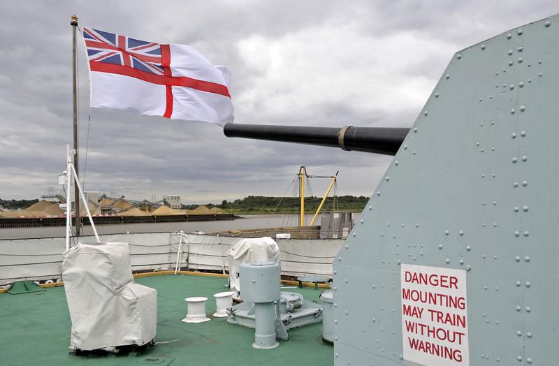HMS Cavalier, Chatham dockyard, Sat 9 June 2012 17.  Aft 4.5in gun and quarterdeck.
