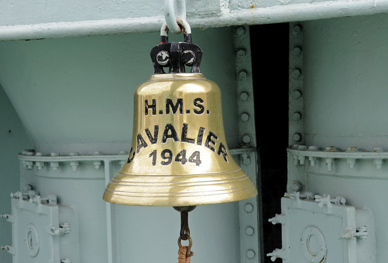 HMS Cavalier, Chatham dockyard, Sat 9 June 2012 16.  Ship's bell.