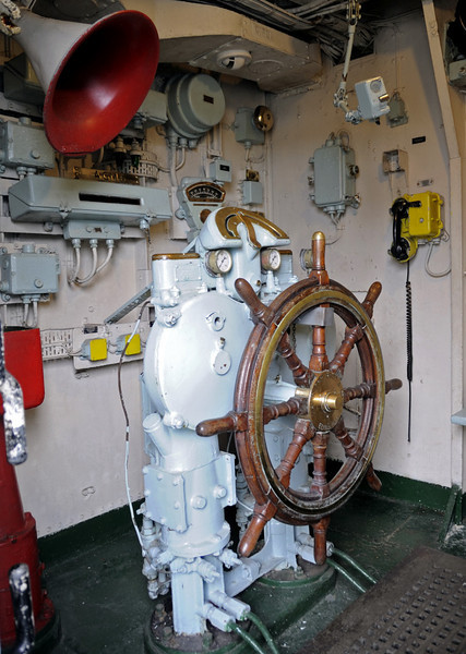HMS Cavalier, Chatham dockyard, Sat 9 June 2012 10.  Wheelhouse.
