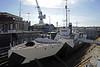 HMS M33, Portsmouth, Mon 2 September 2013 1.  As can be seen, M33 has been painted in dazzle camouflage since my previous visit.