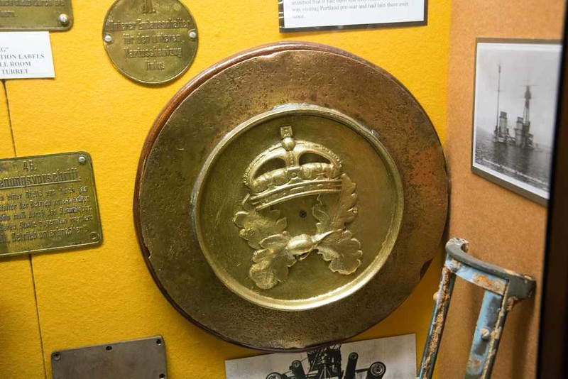 HMS Royal Oak tompion, Charlestown shipwreck and heritage museum, Cornwall, 3 September 2017.  This tompion was found off Portland in 1981, presumably having been lost overboard in the 1930s.