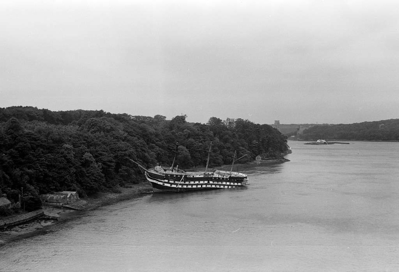 Foudroyant, Menai Strait, 23 July 1953.  This is HMS Trincomalee at the end of her days as a training ship.  Photo by Alan Pearsall, Cumbrian Railways Association collection.