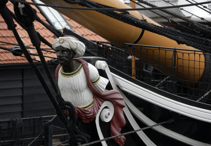 HMS Trincomalee, Hartlepool, Tues 10 August 2010 4.  The figure is thought to be Jamsetjee Bomanjee Wadia, the master builder of Bombay dockyard.  He supervised the building of Trincomalee by an Indian workforce.  They built many other warships for the Royal Navy.