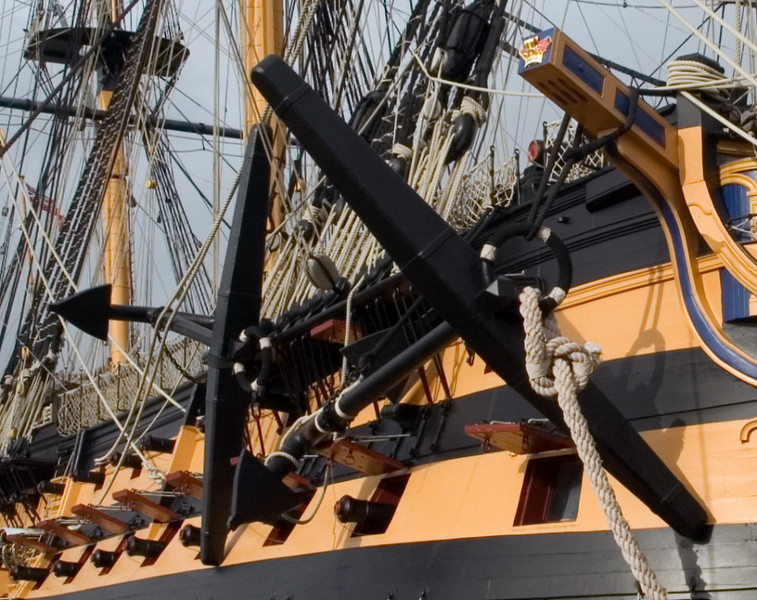 HMS Victory, Portsmouth, 6 March 2007 6.  These starboard bower and sheet anchors are wooden replicas.