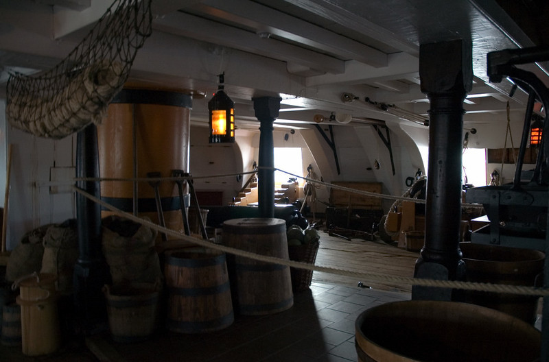 HMS Victory, Portsmouth, 6 March 2007 20.  Middle gun deck 2.  This housed 28 long 24-pounder guns