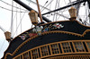 HMS Victory, Portsmouth, 6 March 2007 10.  A closer look at the lanterns and taffrail decoration.  The Prince of Wales's feathers come from HMS Prince, a 98 gun ship which fought at Trafalgar.