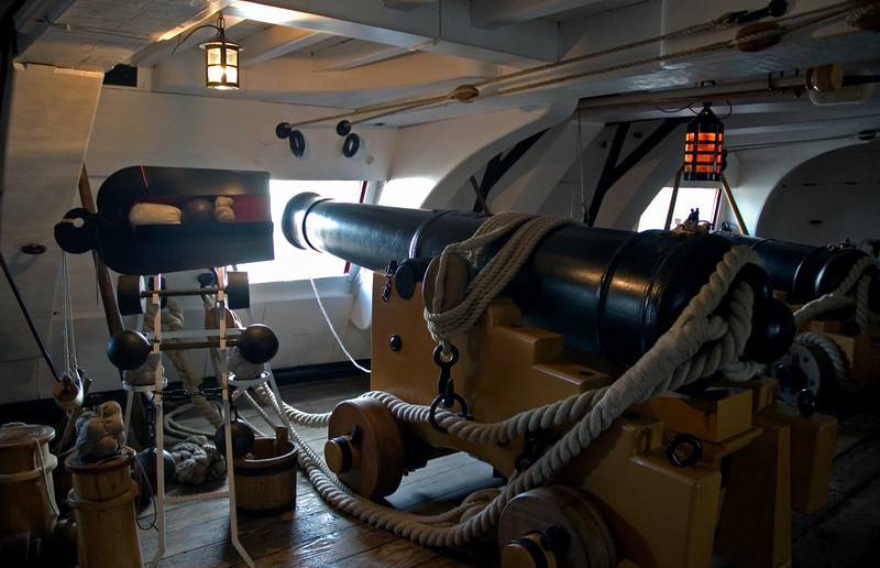 HMS Victory, Portsmouth, 6 March 2007 21.  Middle gun deck 3.  Long 24 pounder gun.  It would mainly fire round shot as shown in the cutaway to smash enemy hulls, but also bar shot to destroy masts and rigging, so immobilising an enemy.  The grape shot was used against enemy personnel.