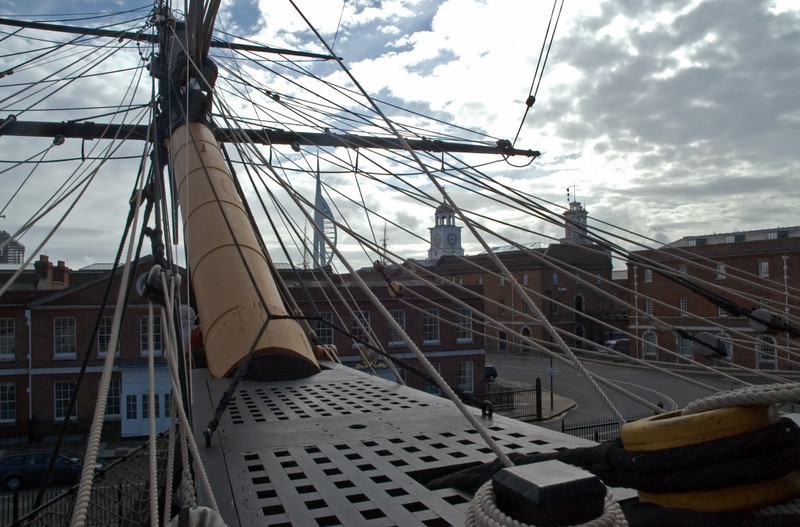 HMS Victory, Portsmouth, 6 March 2007 16.  Looking forward over the replica bowsprit.
