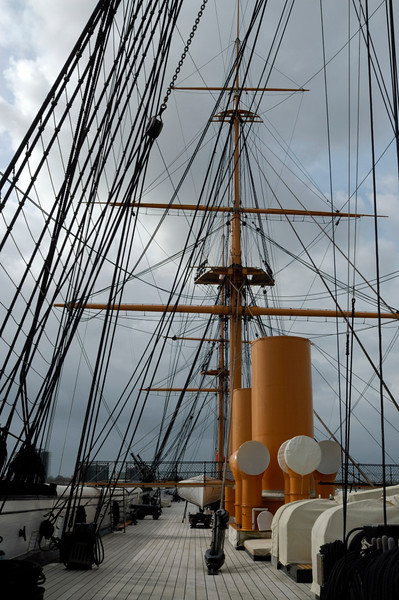 Upper deck looking aft from the bow, HMS Warrior, Portsmouth, 5 March 2007 2.