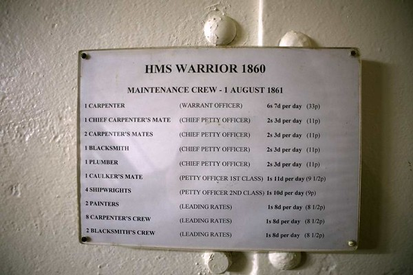 Maintenance crew pay scales, HMS Warrior, Portsmouth, 11 March 2014