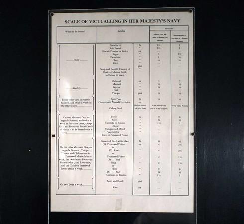Food allowances, HMS Warrior, Portsmouth, 11 March 2014