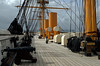 Upper deck looking aft from the bow, HMS Warrior, Portsmouth, 5 March 2007 1.  The funnels were telecopic and could be lowered when she was under sail.