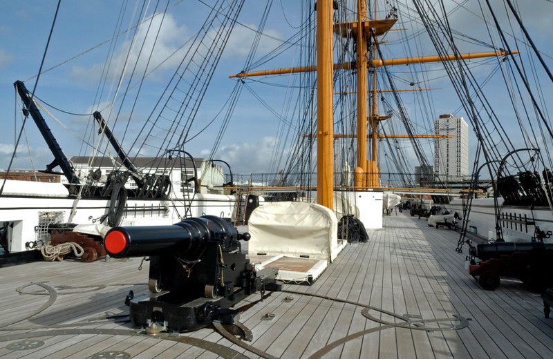 Upper deck looking forward from the stern, HMS Warrior, Portsmouth, 5 March 2007.