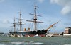 HMS Warrior, Portsmouth, 5 March 2007 2.  The ship is 420 feet long and displaces 9137 tons.  She had a crew of 50 officers and 656 ratings.  Apart from the hull, everything seen here is a modern replacement.