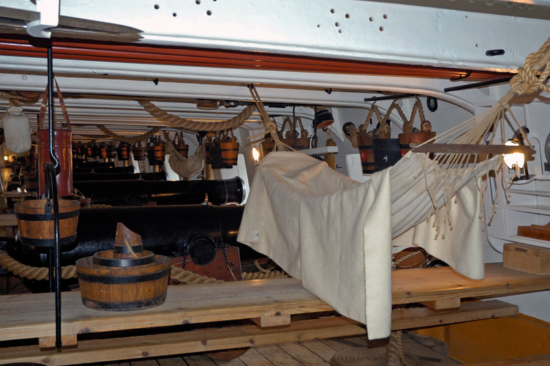 Main deck, HMS Warrior, Portsmouth, 5 March 2007 1.  Home to some 600 men, who ate and slept in hammocks here.