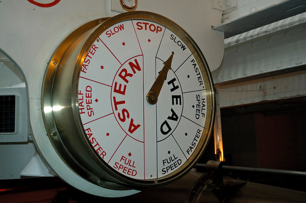 Engine room, HMS Warrior, Portsmouth, 5 March 2007 2.  Ship's telegraph.