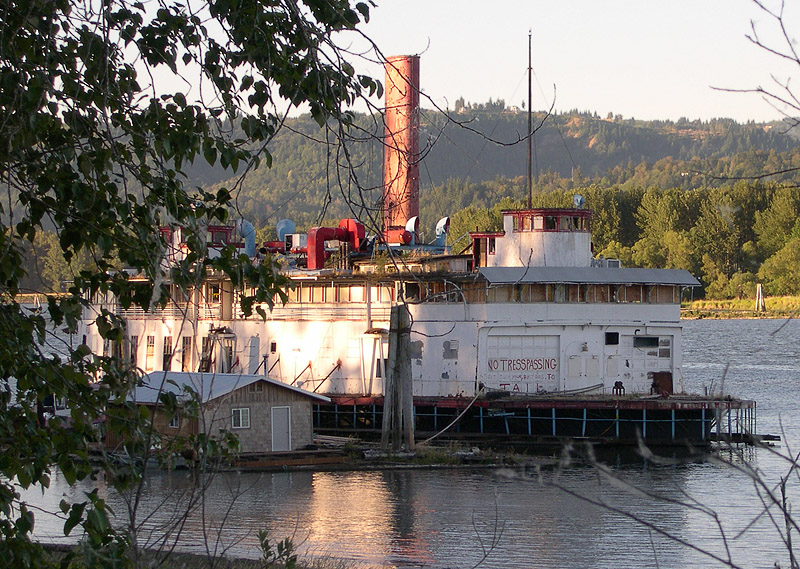 RIVER QUEEN Built S.S. SHASTA in San Francisco, CA for the transbay ferry service. Served in Washington state during the 1940's and 1950's. Moored in NW Portland as a restaurant until 1995. Put up for sale and moved to Columbia County where it has been slowly deteriorating.