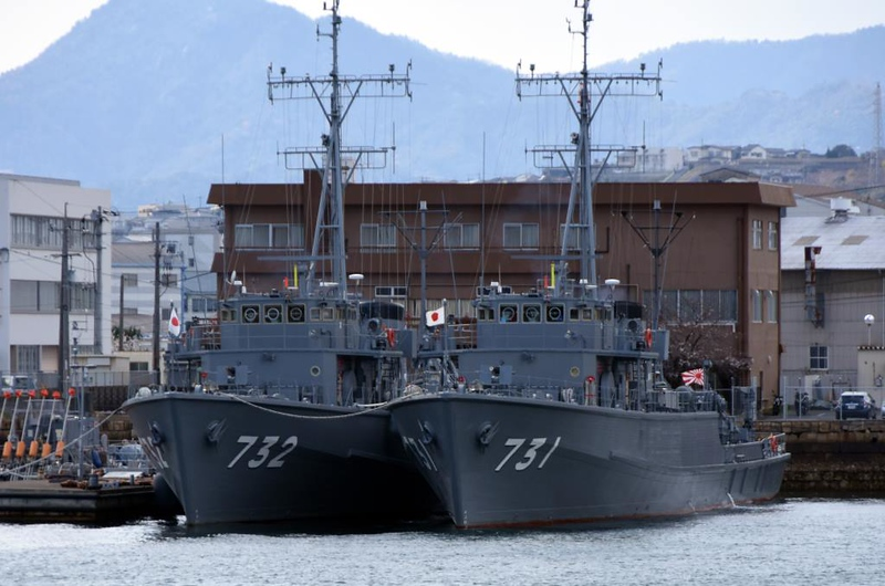 JS Nagashima (732) & Yugeshima (731), Kure, 1 April 2019.  Mine counter-measures ships.