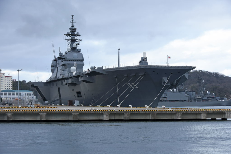 JS Izumo (183), Yokosuka, 21 March 2019.  The first of two helicopter (carrier) destroyers, commissioned in 2015.  These anti-submarine ships are the largest JMSDF surface combatants, displacing 27,000 tons full load.