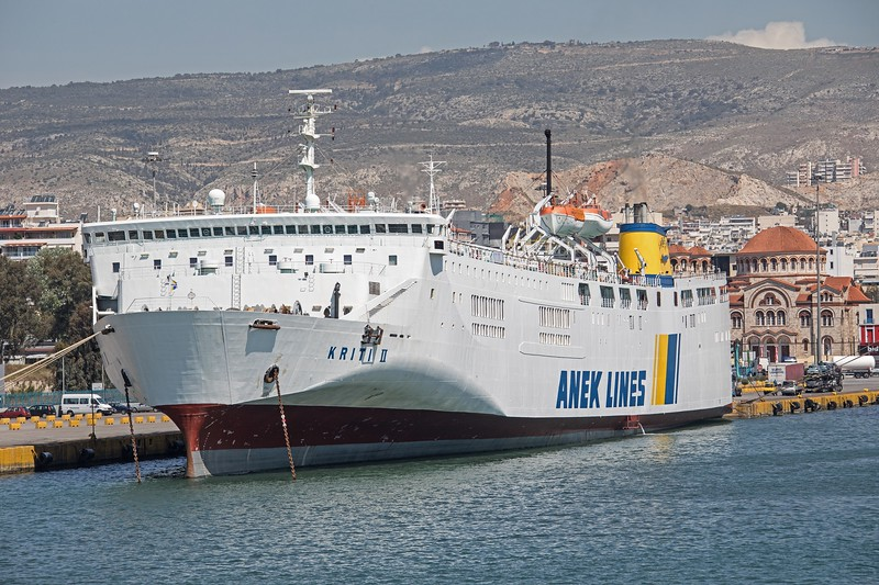 Another Japanese ferry that found her way to Greece, the Kriti II is not the most elegant of vessels on the Piraeus - Crete route! She began serice in 1979 as the 'New Yukari' and arrived in Greece in 1995.  Seen in Piraeus on 19th April 2017.  27, 239 GT