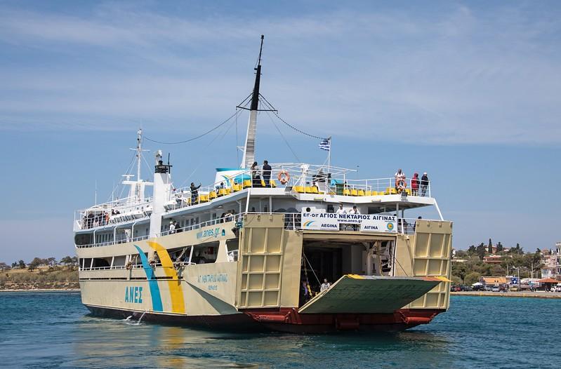 'Agios Nektarios Aigina'  coming astern to her berth on the Island of Aegina.  19th April 2017..