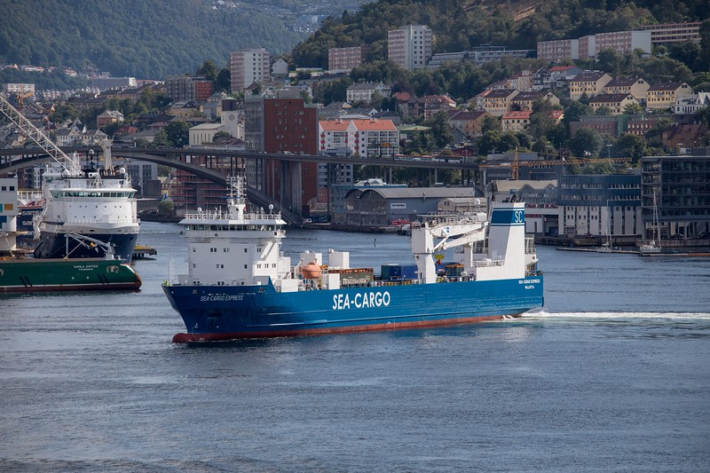 Ro-Ro cargo vessel SEA CARGO EXPRESS  arriving in Bergen on 18th August 2017.  Built in 2012 and flagged in Malta, she has a GT of 6693.