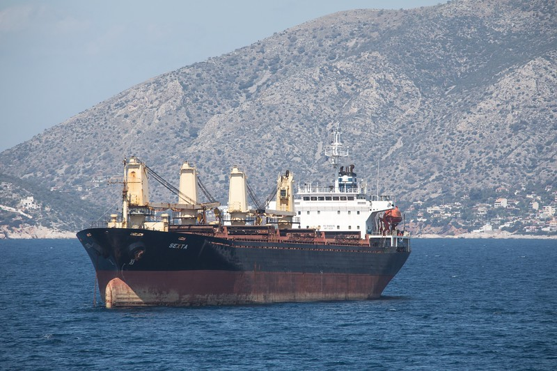 The Panama flagged bulk carrier 'Sexta' at anchor off Piraeus on 19th April 2017. Built in 2000 and 11,376 GT
