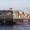The 14,000 TEU container ship YM World is stopped  awaiting to enter tPiraeus container port in the early morning of 20th April 2017.  She has arrived from Antwerp and after cargo work in Piraeus, she departed for China via the Suez Canal. The vessel was built in 2015 and has a GT of 146700