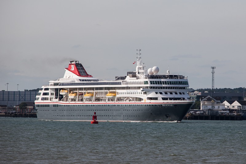 Olsen Lines 'Braemar' heads to sea from Southampton on 21st May 2017 on a 'round Britain and Ireland' cruise. Built as the 'Crown Dynasty'  for Crown Cruise Lines in 1993, she was bought by Olsen in 2001.  The vessel was 'stretched' in 2008 to make her longer and now has a GT of  24,344