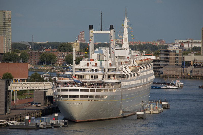 Former HAL  trans-atlantic liner SS Rotterdam permanently berthed in Rotterdam as an Hotel and museum.