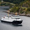 Norwegian FJords ro-pax BOLSOY arriving in Geiranger from Hellesylt on 17th August 2017.  This small ferry was built in 1971 and has a GT of 1454.