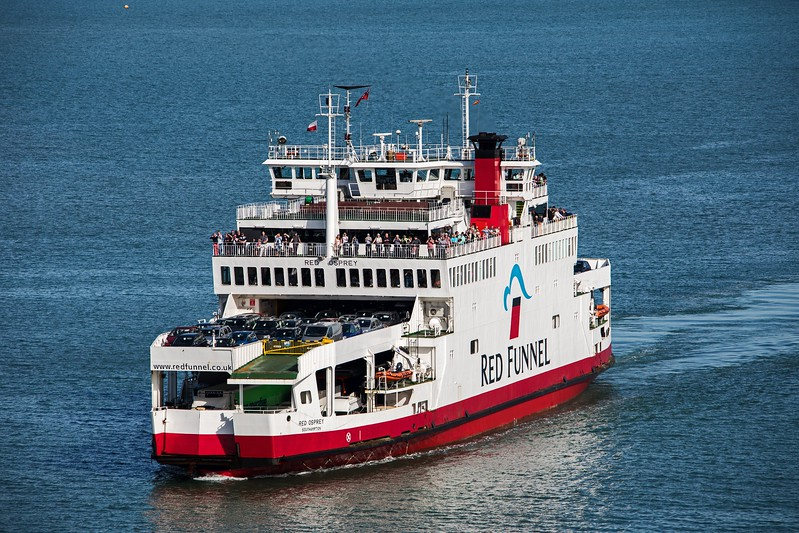 Red Funnel's 'Red Osprey' seen inbound to Southampton from Cowes on 22nd May 2017.  This workhorse was built in 1994 and has a GT of 3953.  Photographed from the observation deck of the outbound QM2.